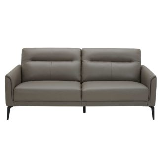 An Image of Belgravia 3 Seater Leather Sofa, Melbourne Dark Grey M5655