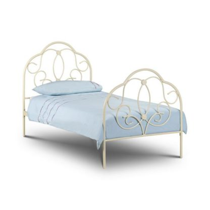 An Image of Arabel Metal Single Bed In Stone White Finish