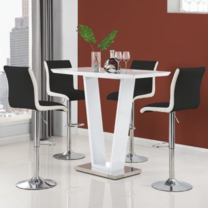 An Image of Ilko High Gloss Bar Table In White With 4 Ritz Black White Stool