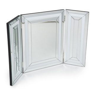 An Image of Liberty Dressing Table Mirror In Silver And White Gloss Frame