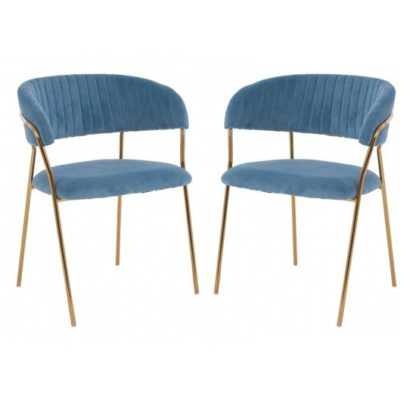 An Image of Tamzo Blue Velvet Dining Chairs With Gold Legs In Pair