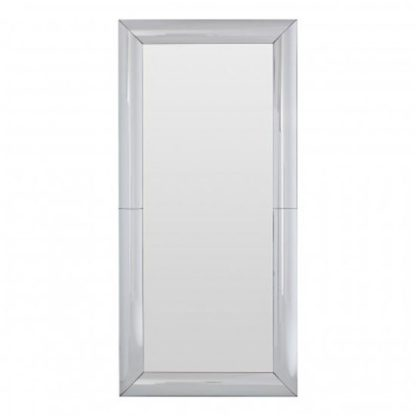 An Image of Recon Rectangular Wall Bedroom Mirror In Thick Silver Frame