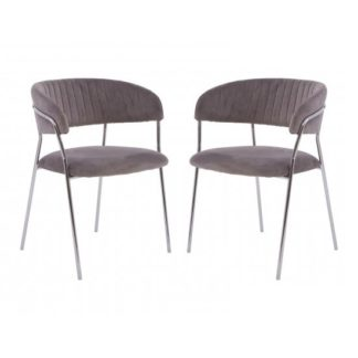 An Image of Tamzo Mink Velvet Upholstered Dining Chairs In Pair