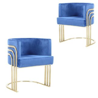 An Image of Lula Blue Velvet Dining Chairs In Pair With Gold Legs