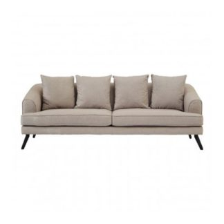 An Image of Myla 3 Seater Fabric Sofa In Natural