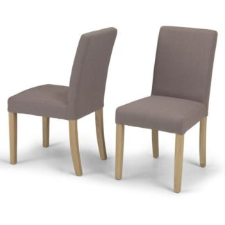 An Image of Exotic Mocha Fabric Dining Chairs In A Pair With Natural Legs