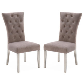 An Image of Pembroke Taupe Velvet Dining Chair In Pair