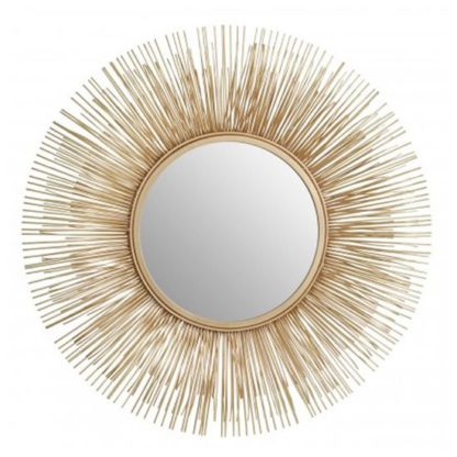 An Image of Templars Round Wall Bedroom Mirror In Warm Gold Frame