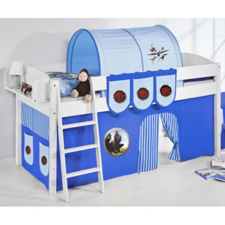 An Image of Lilla Children Bed In White With Dragons Blue Curtains