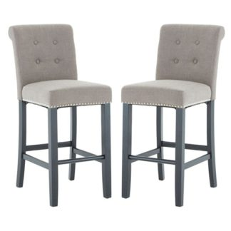 An Image of Trento Park Natural Fabric Upholstered Bar Chairs In Pair