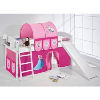 An Image of Lilla Slide Children Bed In White With Frozen Pink Curtains
