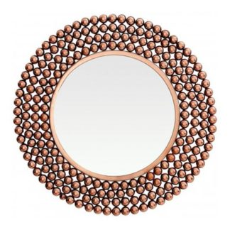 An Image of Templars Beaded Effect Wall Bedroom Mirror In Copper Frame