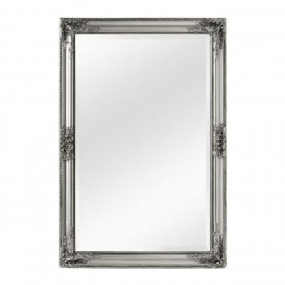 An Image of Rustin Vintage Design Wall Bedroom Mirror In Silver Frame