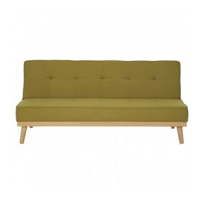 An Image of Porrima 3 Seater Fabric Sofa Bed In Green