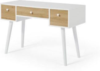 An Image of MADE Essentials Larsen Desk, Oak Effect & White