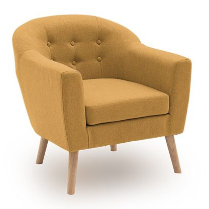 An Image of Perig Fabric Upholstered Accent Chair In Mustard