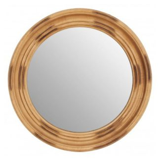 An Image of Serene Round Wall Bedroom Mirror In Antique Gold Frame
