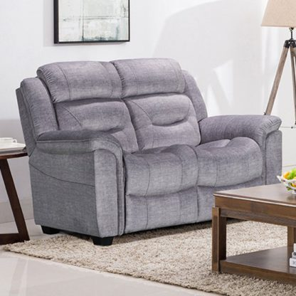 An Image of Dudley Fabric Upholstered Fixed 2 Seater Sofa In Nett Grey