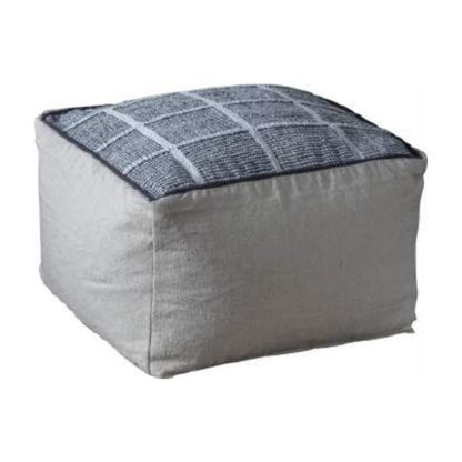An Image of Vega Fabric Upholstered Square Pouffe In Grey
