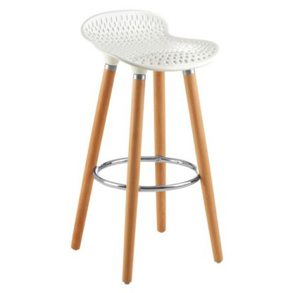 An Image of Porrima Plastic Seat Bar Stool In Matte White