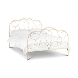 An Image of Arabel Metal Double Bed In Stone White Finish