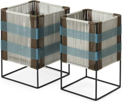 An Image of Ariba Set Of Two Tiered Woven Square Plant Stands, Multi-