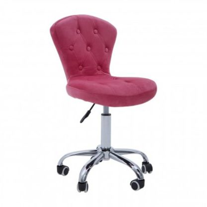 An Image of Detra Rolling Home And Office Velvet Chair In Pink