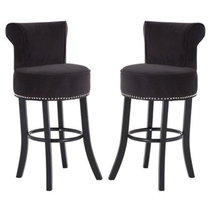 An Image of Trento Park Black Fabric Upholstered Round Bar Chairs In Pair