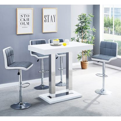 An Image of Caprice Glass Bar Table In White With 4 Grey White Copez Stools