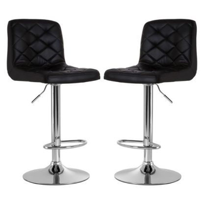 An Image of Terot Black Faux Leather Gas Lift Bar Stools In Pair