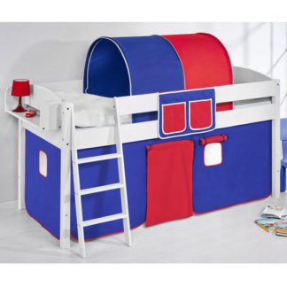 An Image of Lilla Children Bed In White With Blue Red Curtains