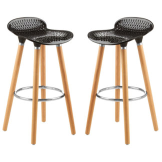An Image of Porrima Matte Black Plastic Seat Bar Stools In Pair