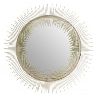 An Image of Templars Sunburst Wall Bedroom Mirror In Silver Pewter Frame