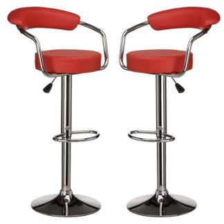 An Image of Scalo Red Faux Leather Gas Lift Bar Chairs In Pair