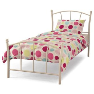 An Image of Penny Metal Single Bed In White Gloss