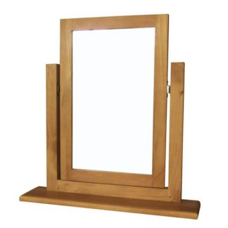 An Image of Cyprian Dressing Table Mirror In Chunky Pine Frame