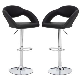 An Image of Talore Black Faux Leather Gas Lift Bar Chairs In Pair