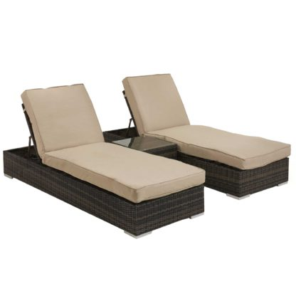 An Image of Ingrid Garden Sun Lounger Set in Brown Weave and Beige Fabric
