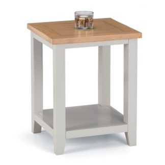 An Image of Christie Wooden Lamp Table In Oak Top And Grey