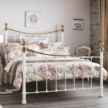 An Image of Ethan Precious Metal Double Bed In Ivory And Brass