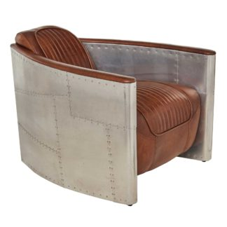 An Image of Timothy Oulton Aviator Tomcat Armchair, Vintage Cigar and Spitfire