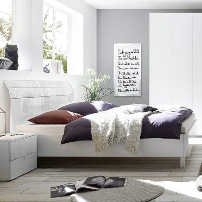 An Image of Soxa Curved Wooden Double Bed In Serigraphed White