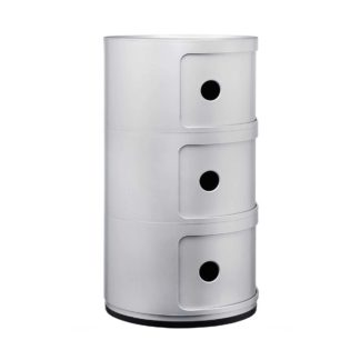 An Image of Kartell Componibili 3 Drawer Storage Unit, Silver