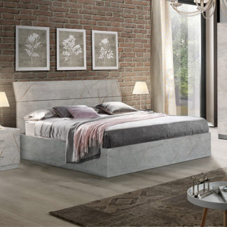 An Image of Mayon Wooden Double Bed In Grey Marble Effect