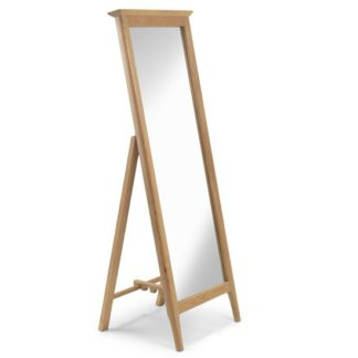 An Image of Courbet Cheval Mirror In Light Solid Oak Frame