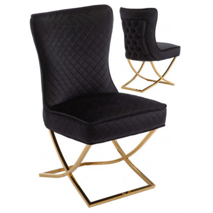 An Image of Lorenzo Black Velvet Dining Chairs In Pair With Gold Legs