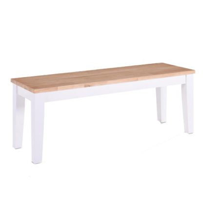 An Image of Rona Wooden Oak Solid Seat Dining Bench In Grey