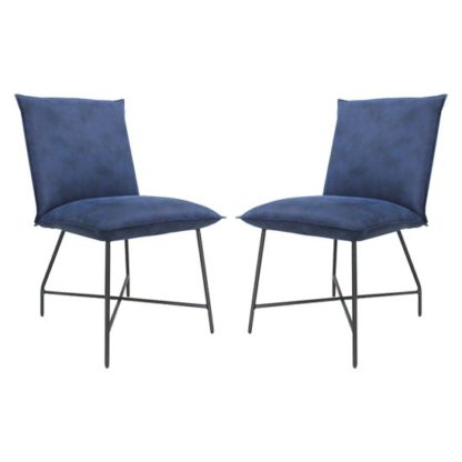An Image of Lukas Indigo Blue Fabric Upholstered Dining Chairs In Pair