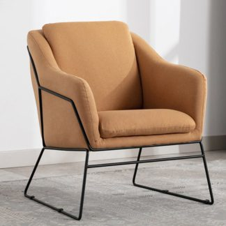 An Image of Karl Fabric Upholstered Accent Chair In Woven Mustard