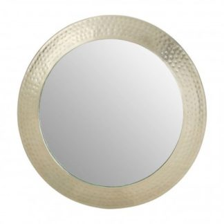 An Image of Templars Hammered Wall Bedroom Mirror In Silver Pewter Frame